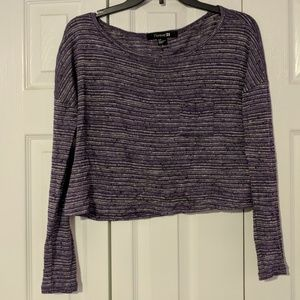Striped long sleeve crop top purple and grey
